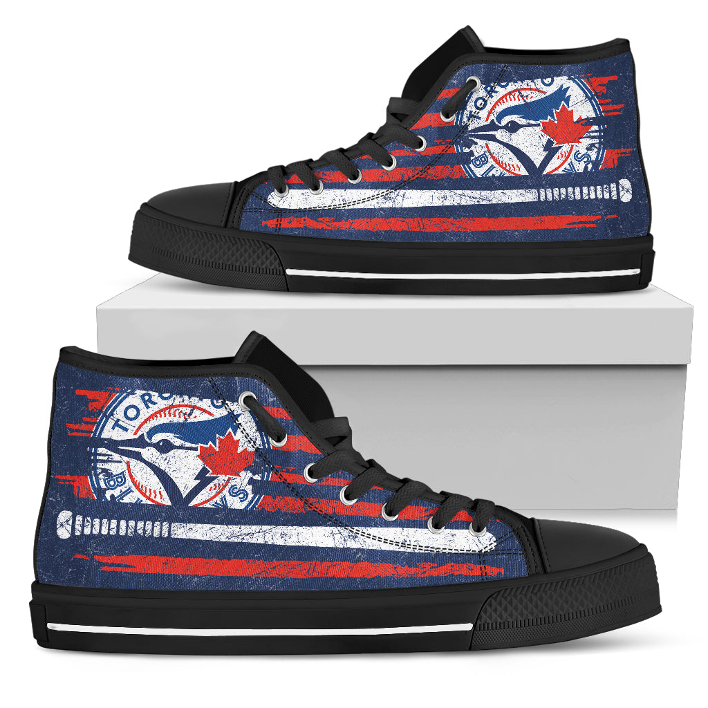American Flag Vintage Baseball Toronto Blue Jays High Top Shoes