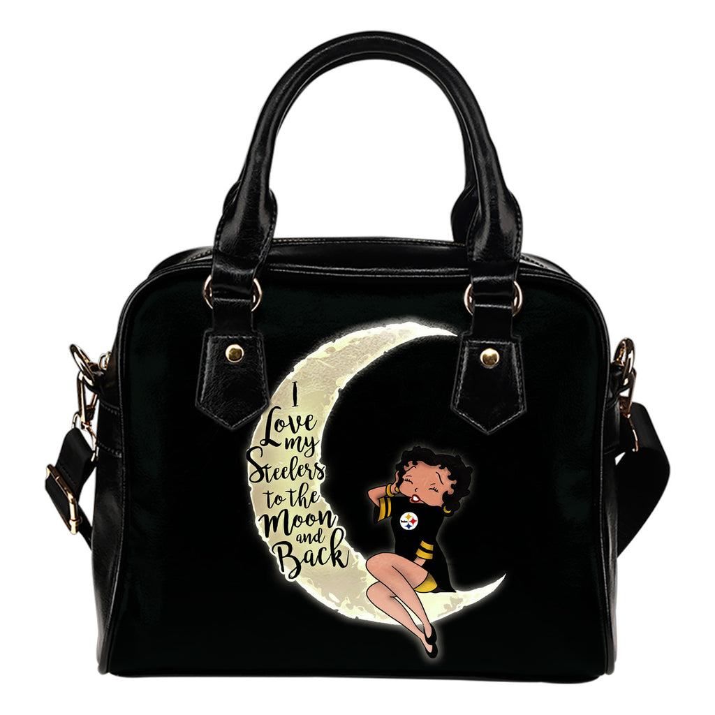 I Love My Pittsburgh Steelers To The Moon And Back Shoulder Handbags Women Purse