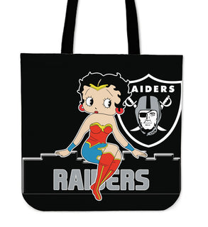 Wonder Betty Boop Oakland Raiders Tote Bags
