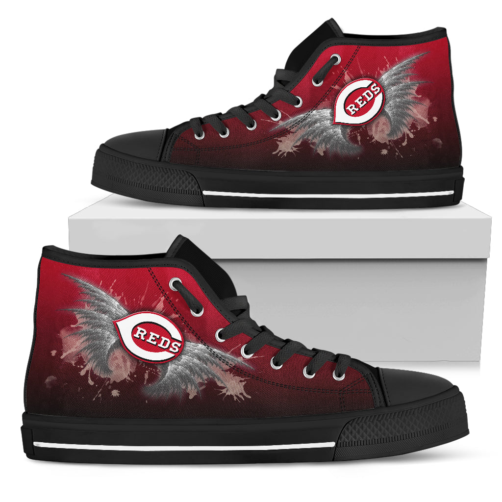 Angel Wings Cincinnati Reds High Top Shoes