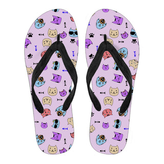 Cat Face Cute Pattern Flip Flops