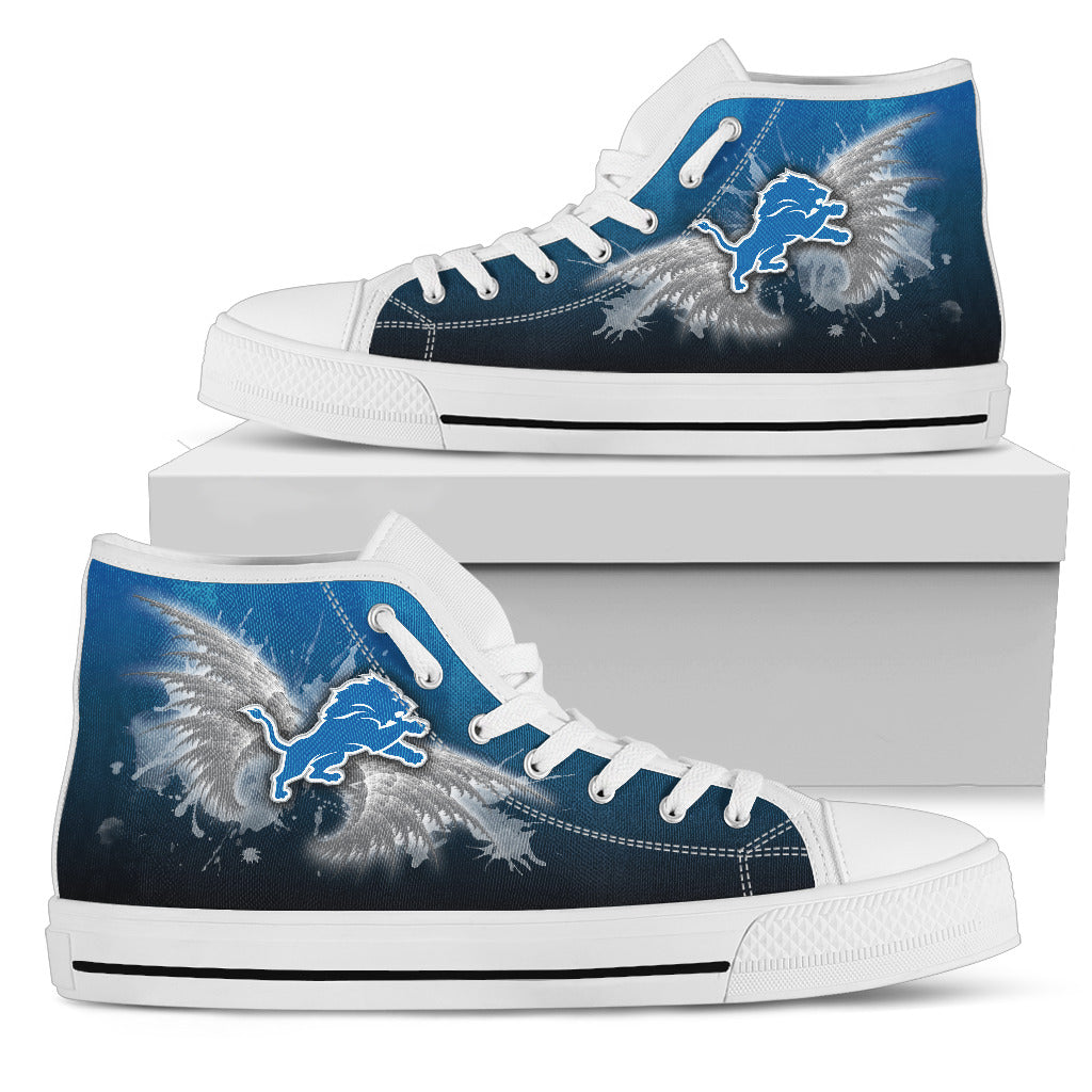 Angel Wings Detroit Lions High Top Shoes