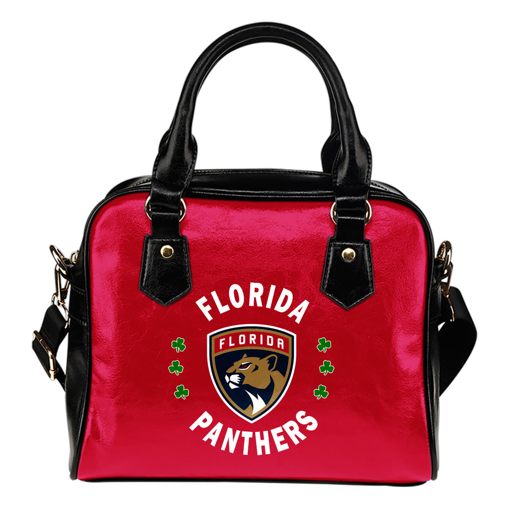Central Beautiful Logo Circle Lucky Leaf Florida Panthers Shoulder Handbags