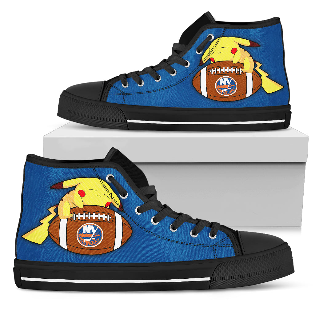 Nice Pikachu Laying On Ball New York Islanders High Top Shoes