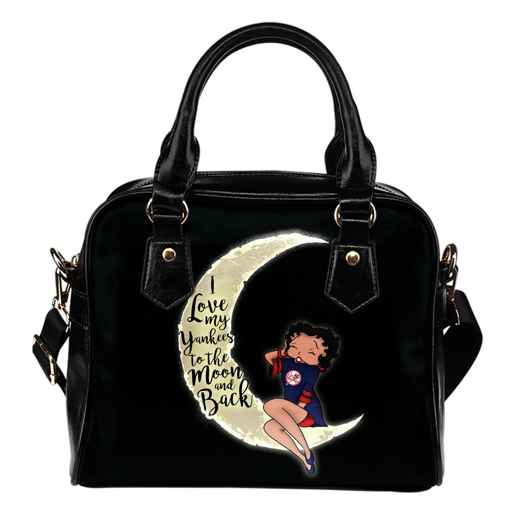 I Love My New York Yankees To The Moon And Back Shoulder Handbags - Best Funny Store