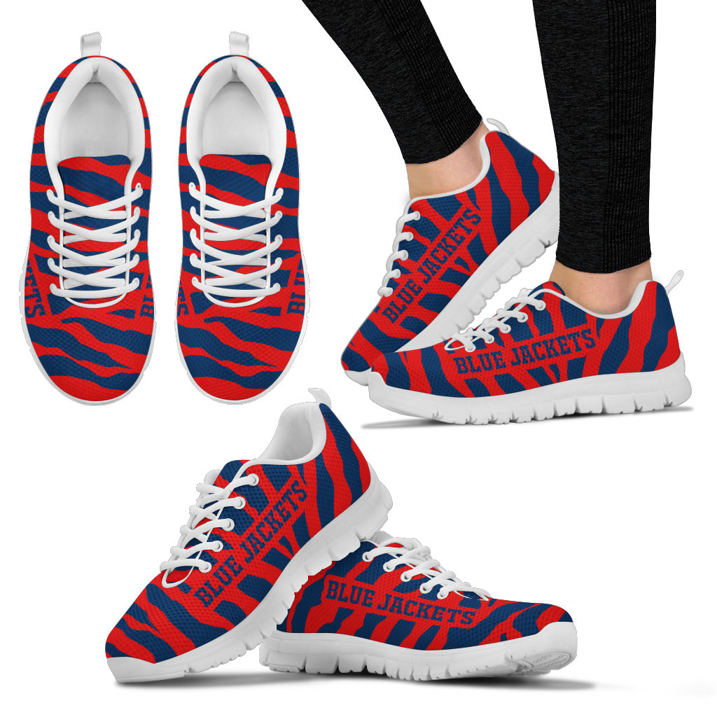 Tiger Skin Stripes Pattern Print Columbus Blue Jackets Sneakers