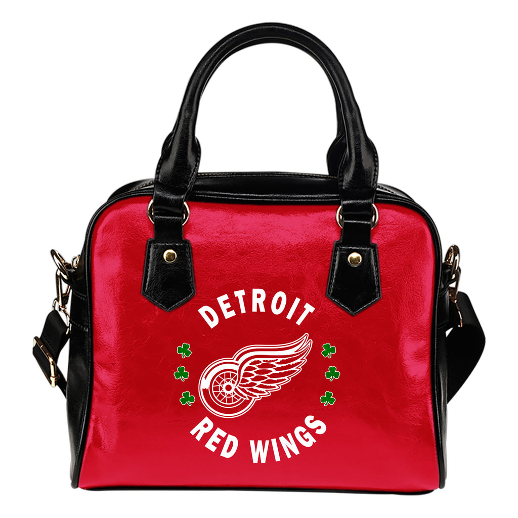 Central Beautiful Logo Circle Lucky Leaf Detroit Red Wings Shoulder Handbags