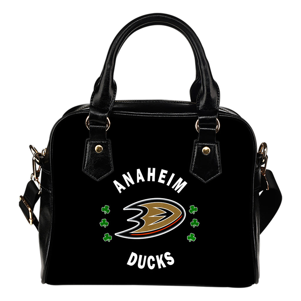 Central Beautiful Logo Circle Lucky Leaf Anaheim Ducks Shoulder Handbags
