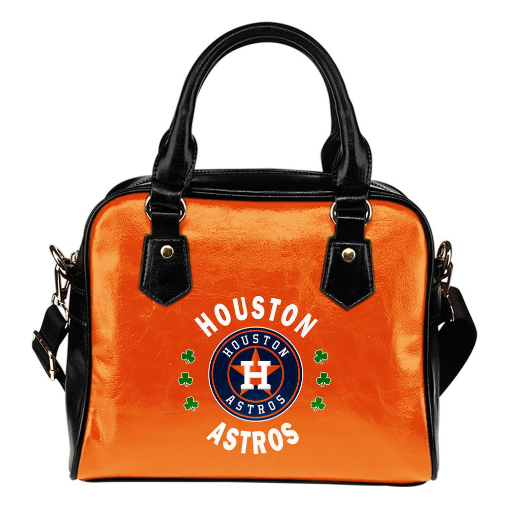 Central Beautiful Logo Circle Lucky Leaf Houston Astros Shoulder Handbags
