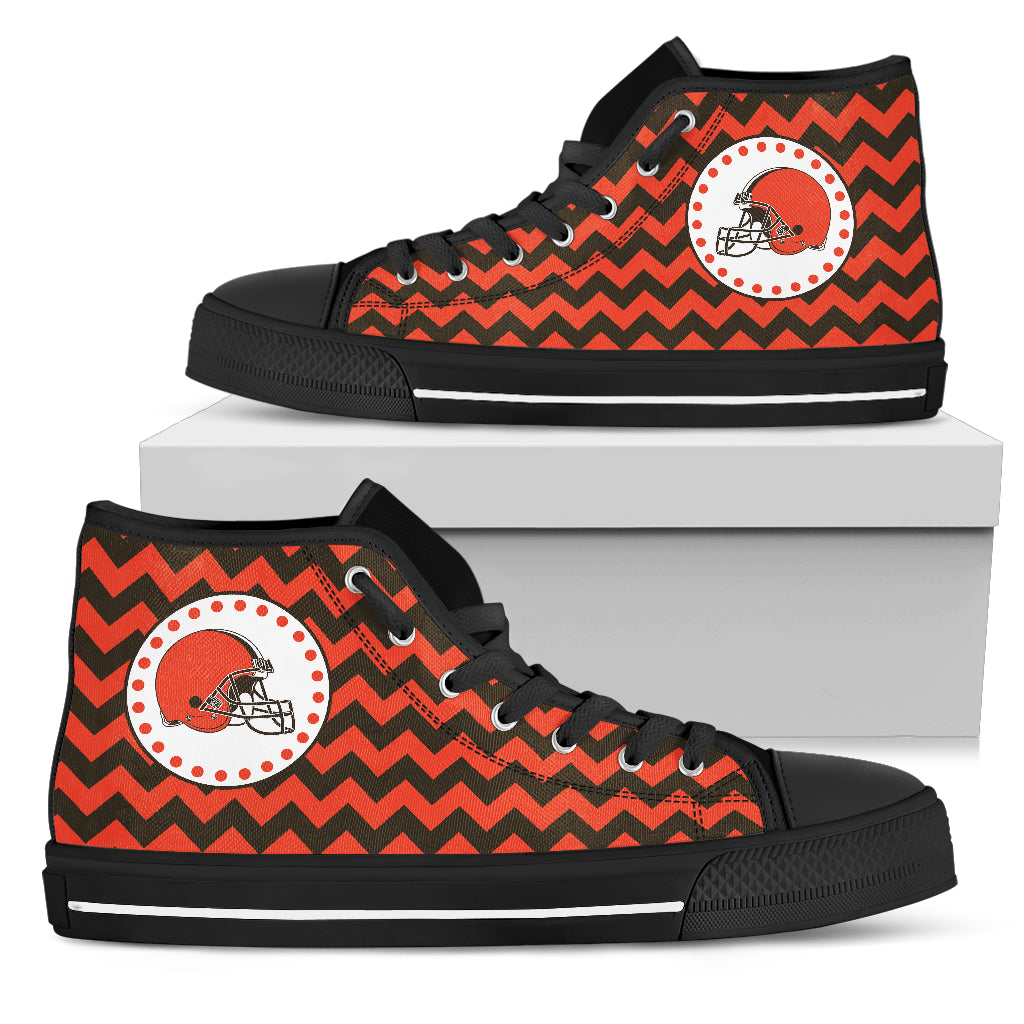 Chevron Broncos Cleveland Browns High Top Shoes