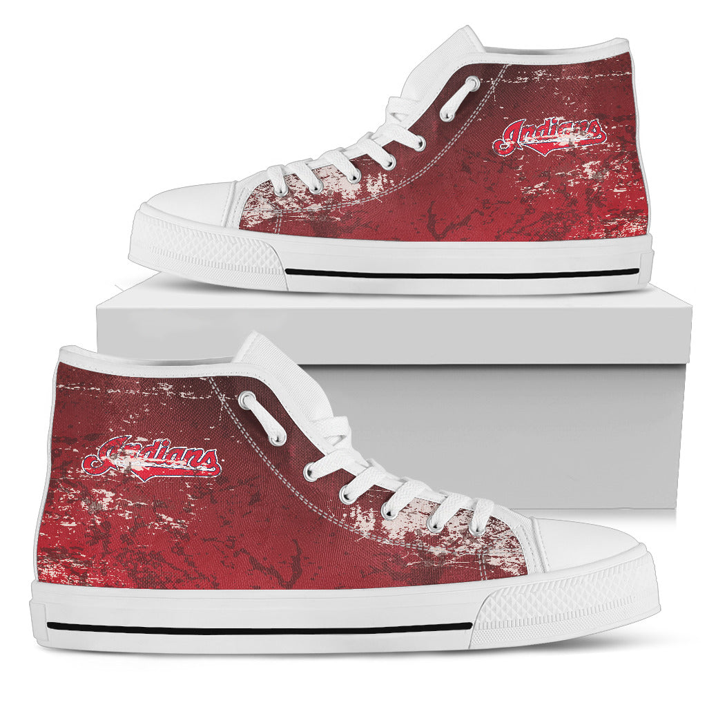 Grunge Vintage Logo Cleveland Indians High Top Shoes