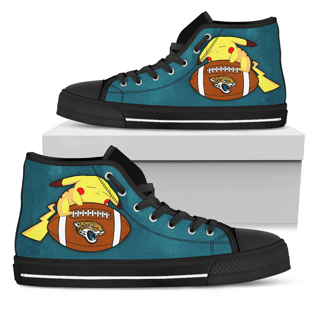 Like Pikachu Laying On Ball Jacksonville Jaguars High Top Shoes
