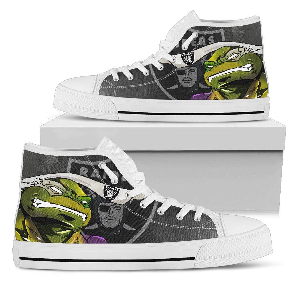 Turtle Oakland Raiders Ninja High Top Shoes
