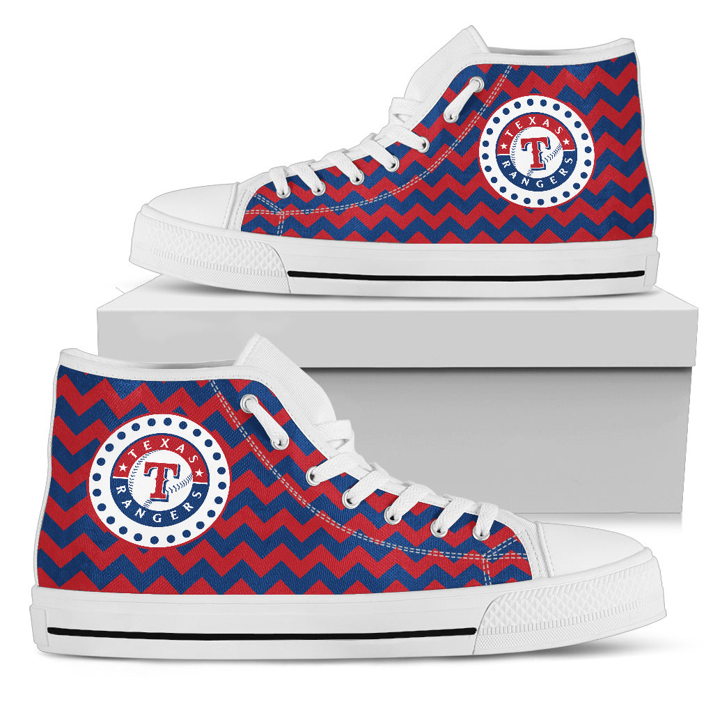 Chevron Broncos Texas Rangers High Top Shoes