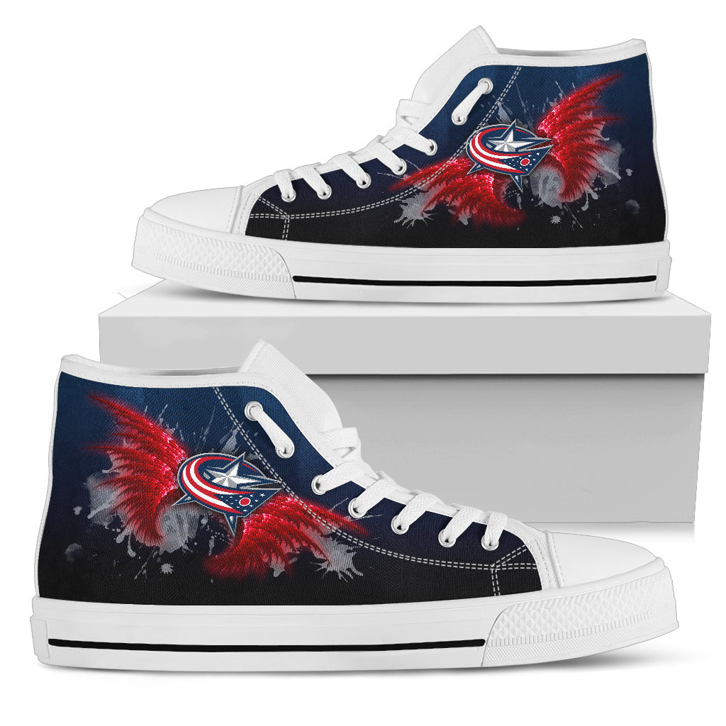 Angel Wings Columbus Blue Jackets High Top Shoes
