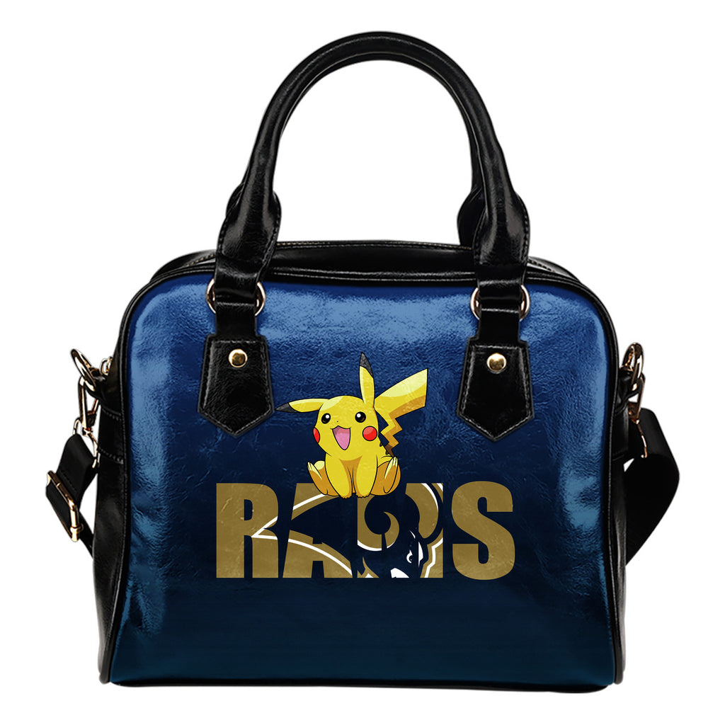 Pokemon Sit On Text Los Angeles Rams Shoulder Handbags