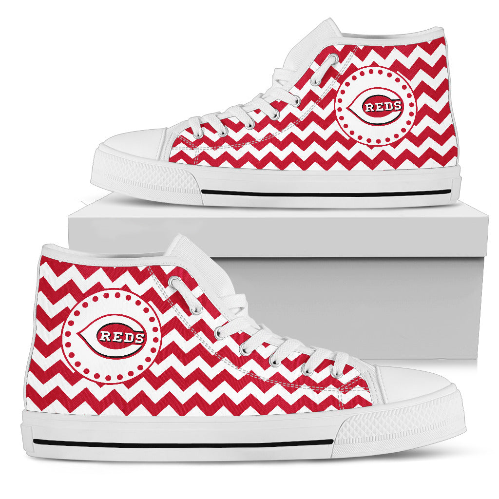 Chevron Broncos Cincinnati Reds High Top Shoes