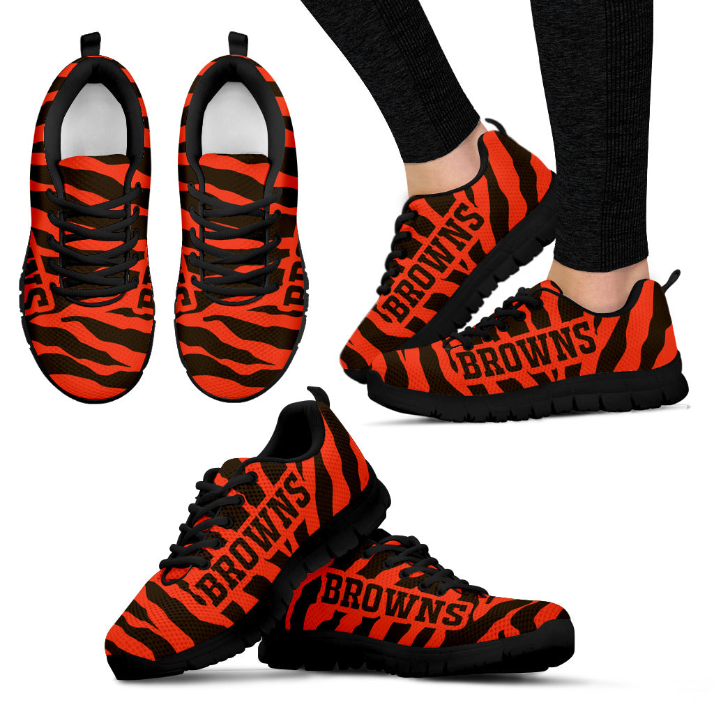 Tiger Skin Stripes Pattern Print Cleveland Browns Sneakers