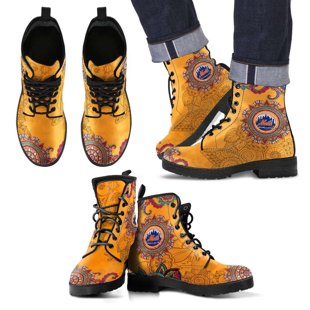 Golden Peace Hand Crafted Awesome Logo New York Mets Leather Boots