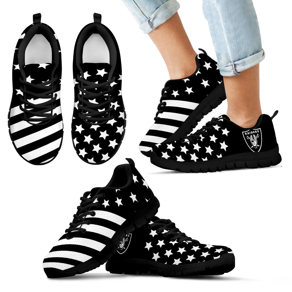 America Flag Full Stars Stripes Oakland Raiders Sneakers