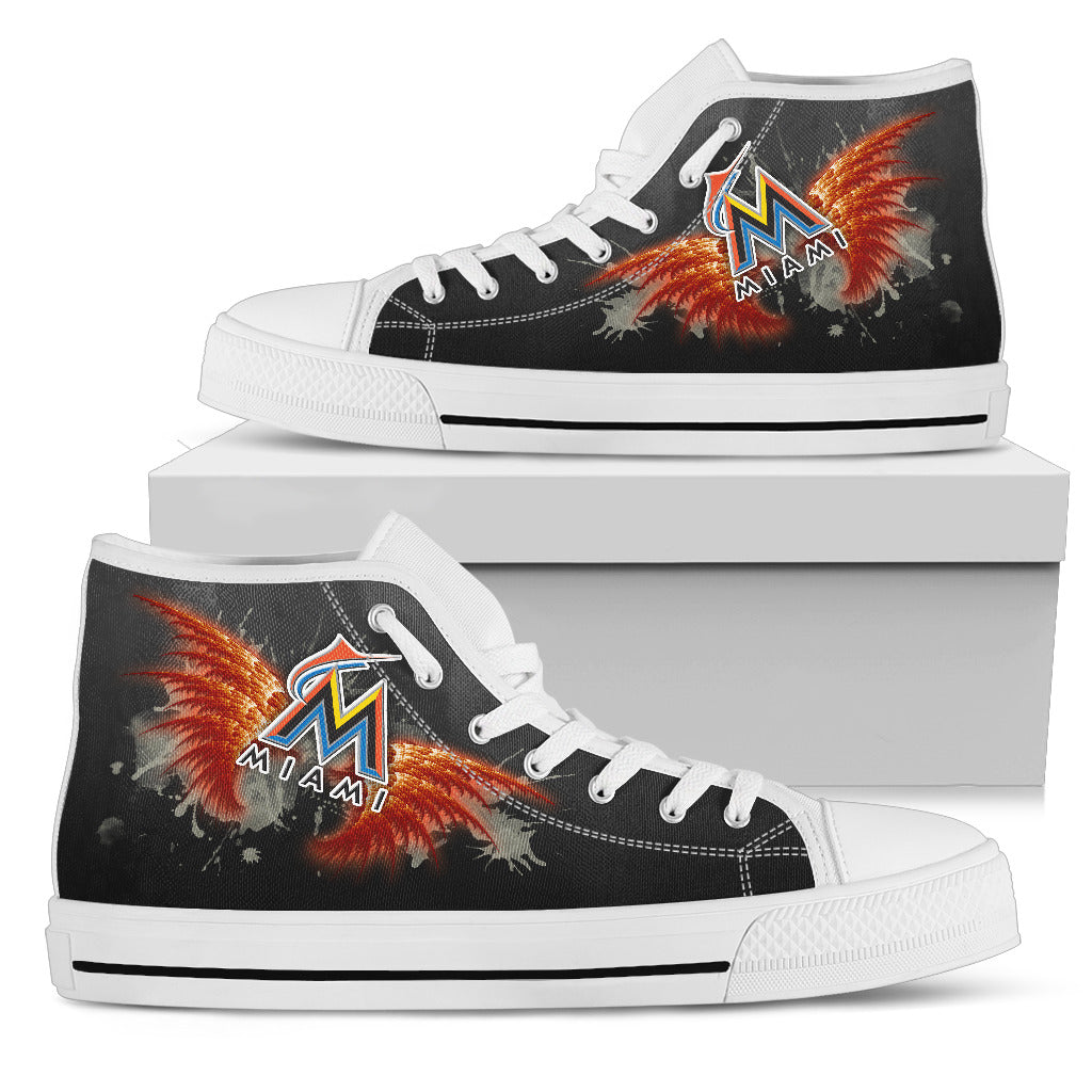 Angel Wings Miami Marlins High Top Shoes