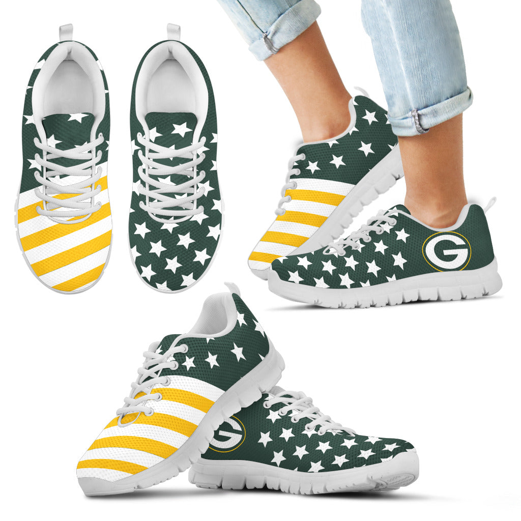 America Flag Full Stars Stripes Green Bay Packers Sneakers