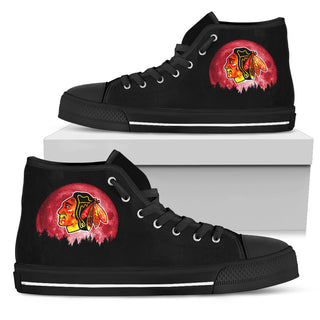 Halloween Orange Moon Mystery Chicago Blackhawks High Top Shoes