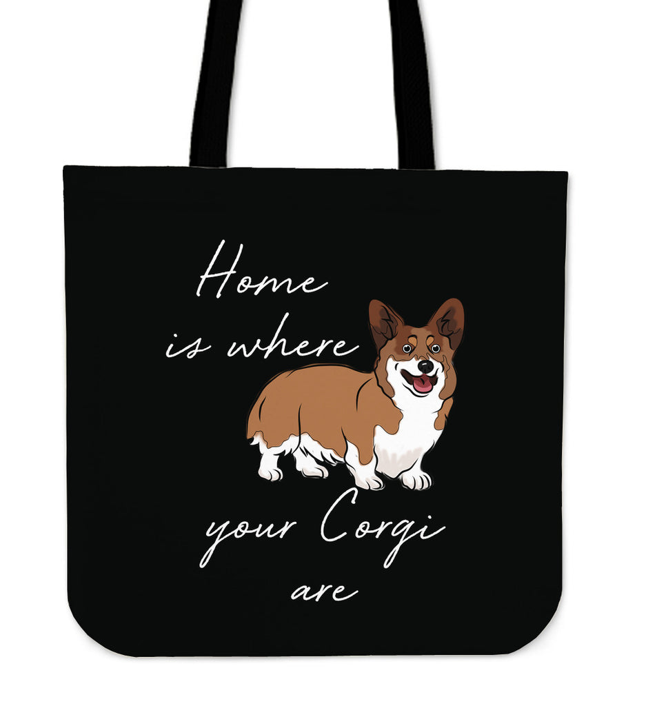 Home Is Where My Corgis Are Tote Bags