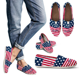 Star Stripers America Flag Atlanta Braves Women Casual Shoes
