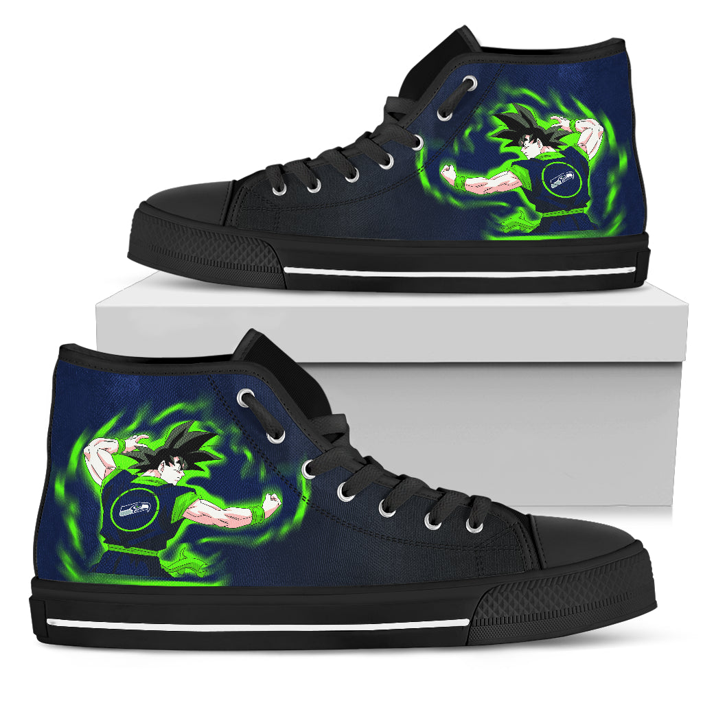 Son Goku Saiyan Power Seattle Seahawks High Top Shoes