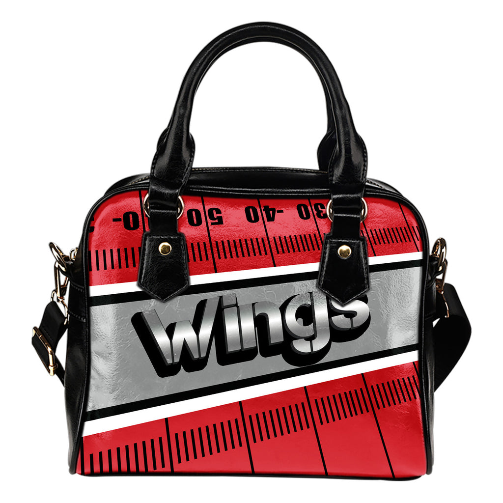 Detroit Red Wings Silver Name Colorful Shoulder Handbags