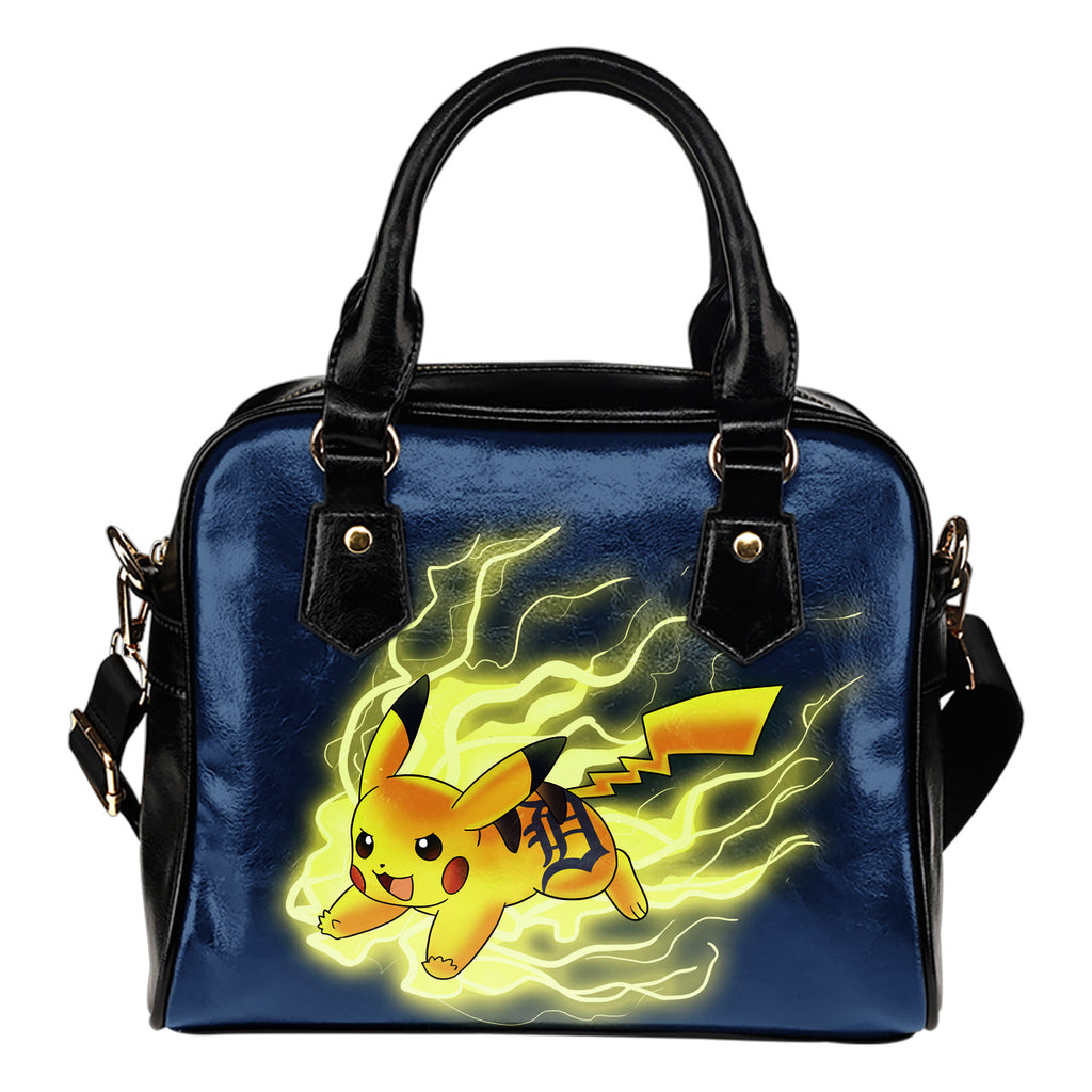 Pikachu Angry Moment Detroit Tigers Shoulder Handbags