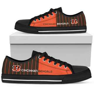 Simple Design Vertical Stripes Cincinnati Bengals Low Top Shoes