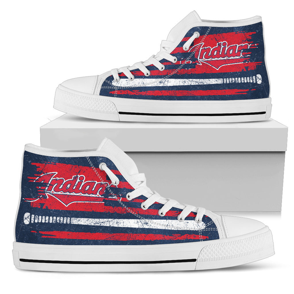 American Flag Vintage Baseball Cleveland Indians High Top Shoes
