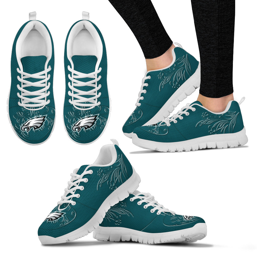 Lovely Floral Print Philadelphia Eagles Sneakers