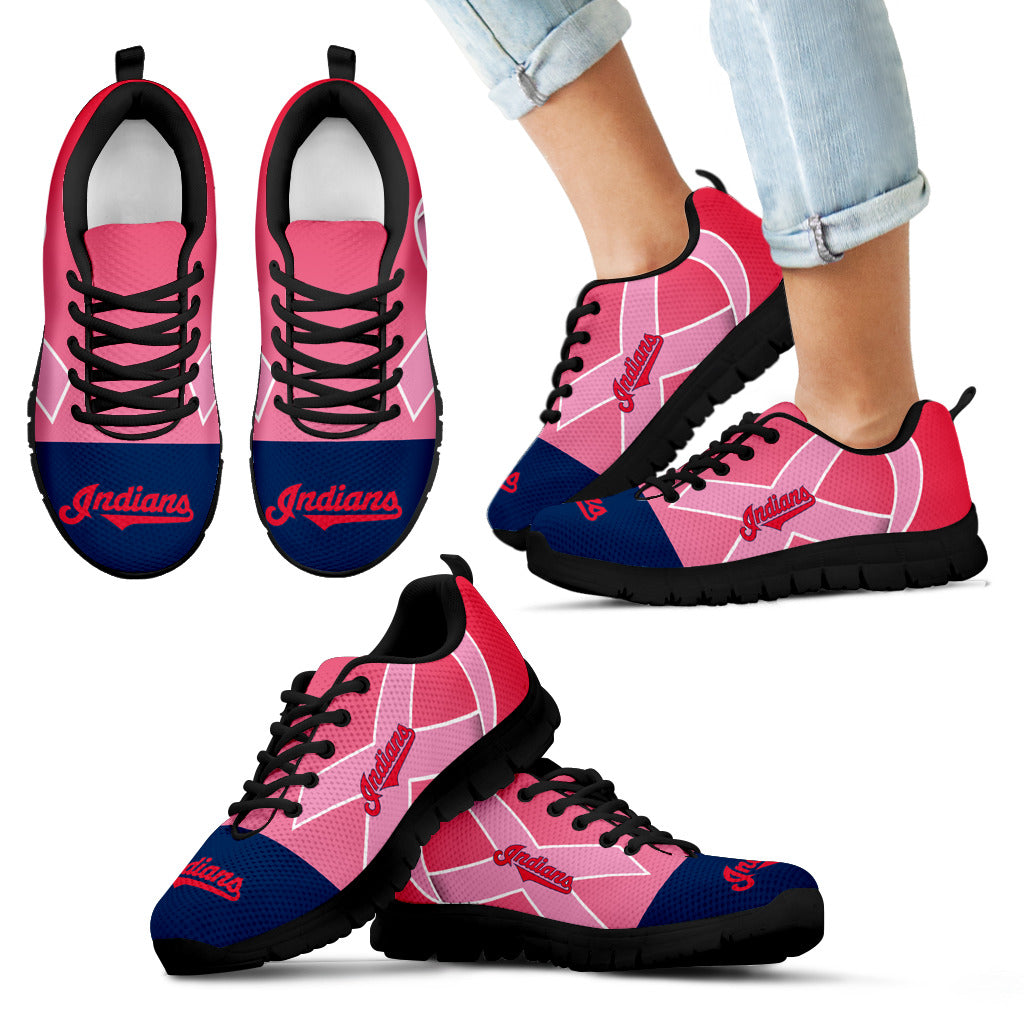 new style 12fde 27dd0 Cleveland Indians Cancer Pink Ribbon Sneakers