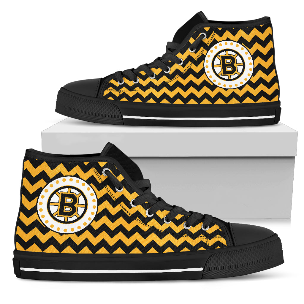 Chevron Broncos Boston Bruins High Top Shoes