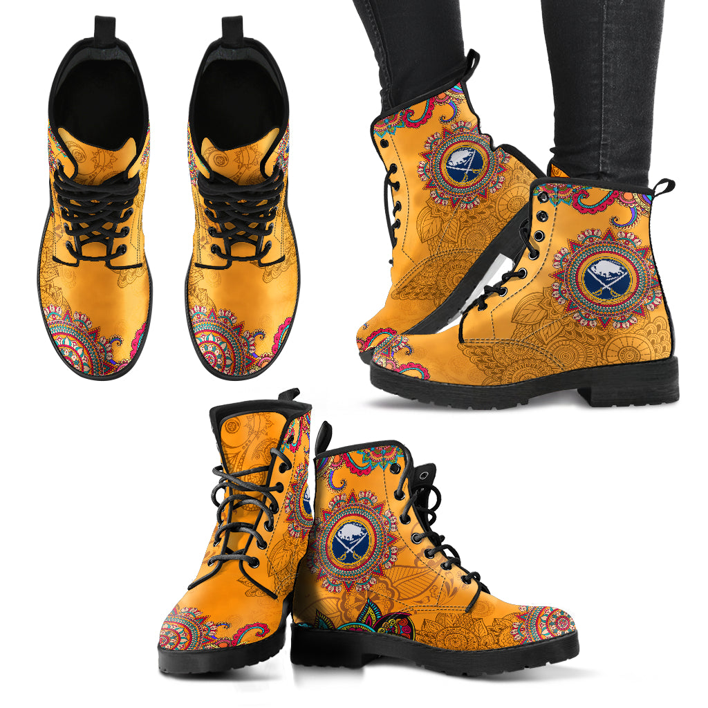Golden Peace Hand Crafted Awesome Logo Buffalo Sabres Leather Boots