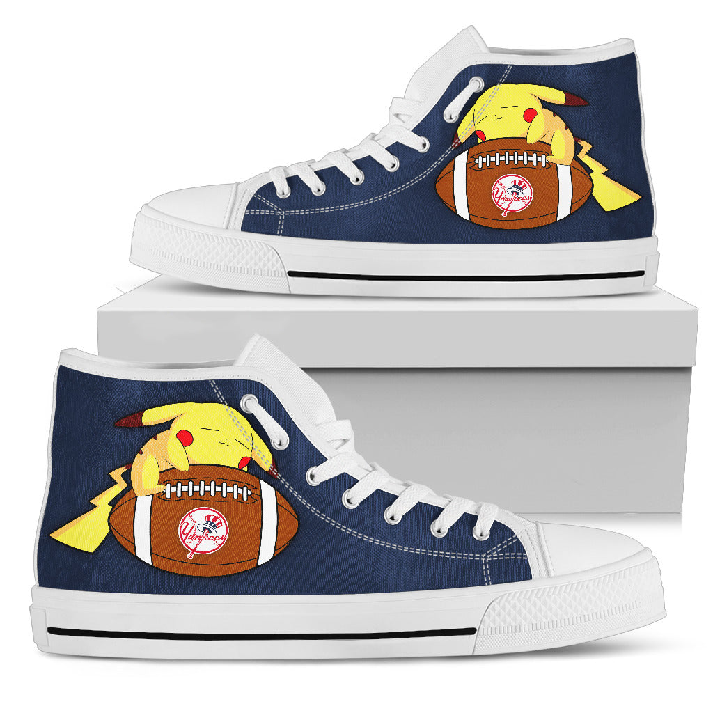 Colorful Pikachu Laying On Ball New York Yankees High Top Shoes