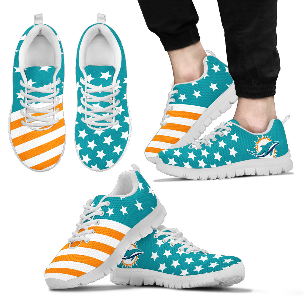 America Flag Full Stars Stripes Miami Dolphins Sneakers