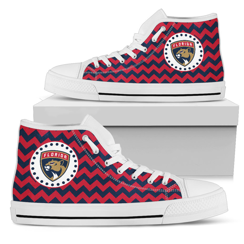 Chevron Broncos Florida Panthers High Top Shoes