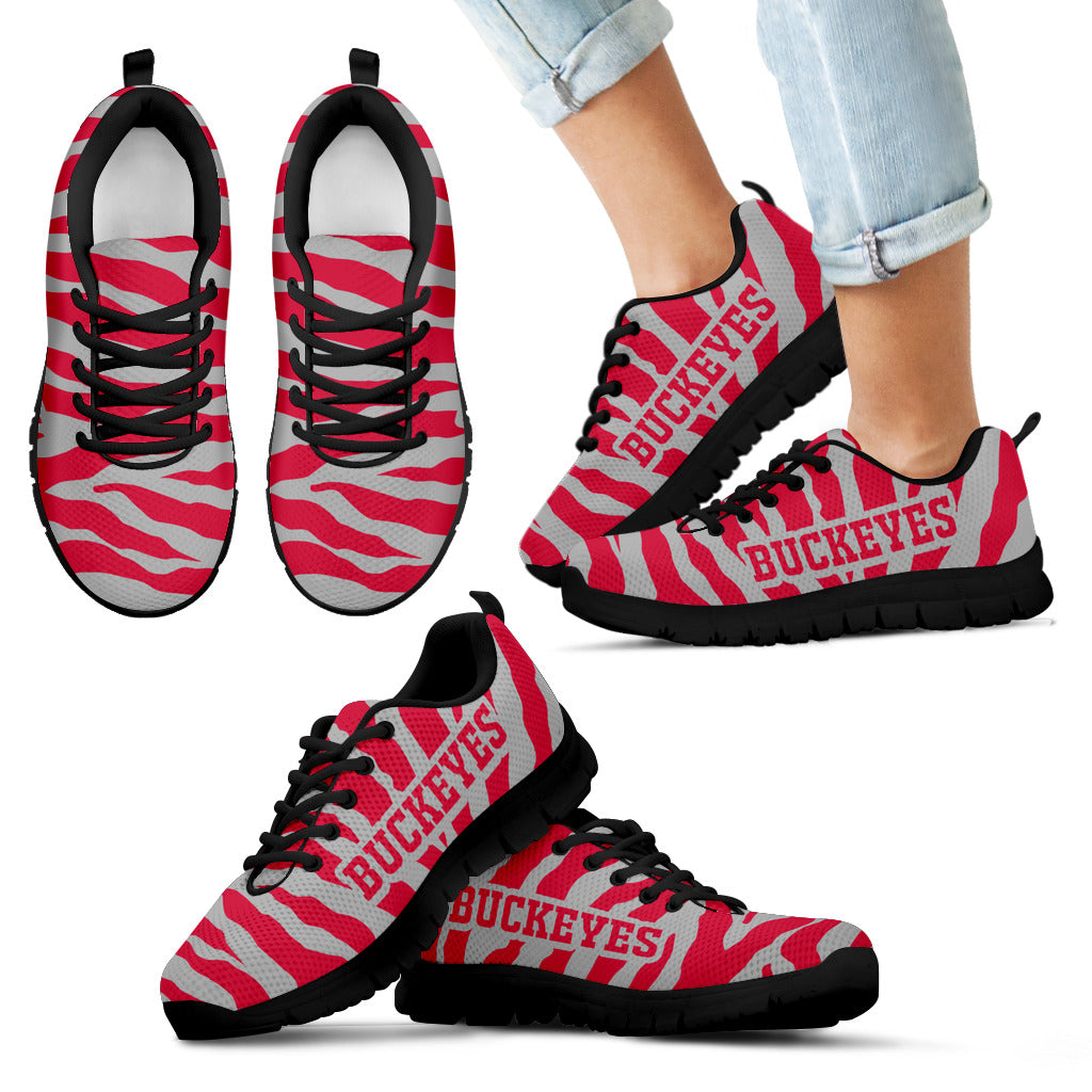 Tiger Skin Stripes Pattern Print Ohio State Buckeyes Sneakers
