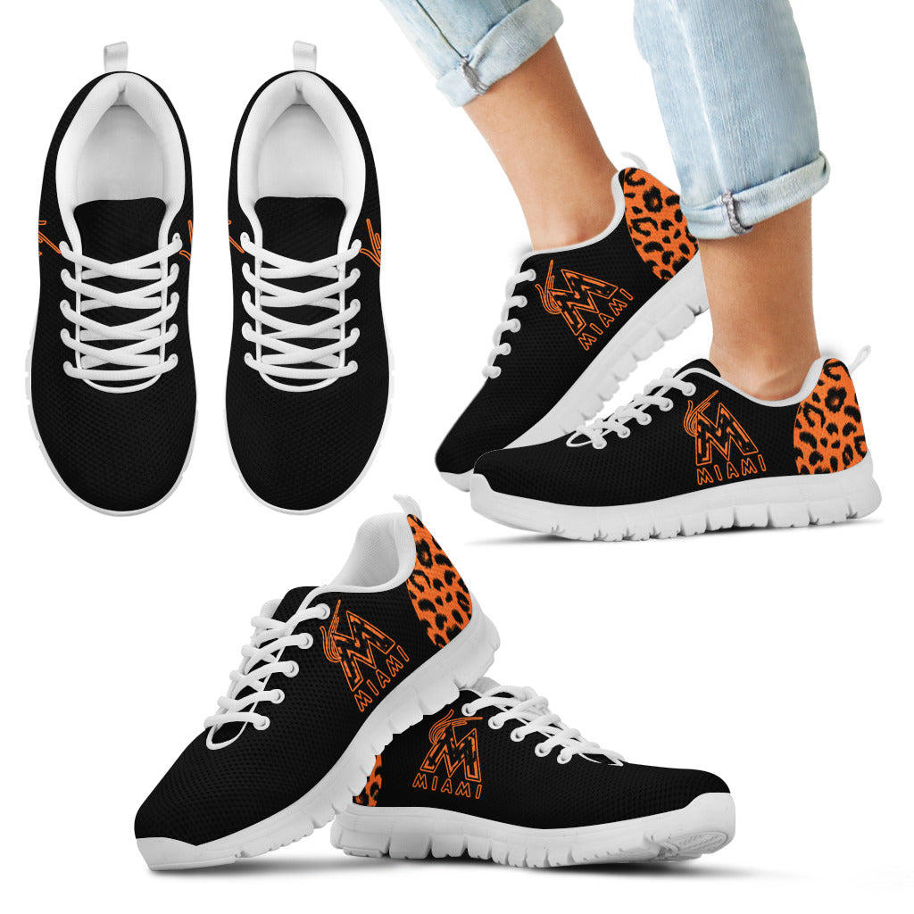 Cheetah Pattern Fabulous Miami Marlins Sneakers