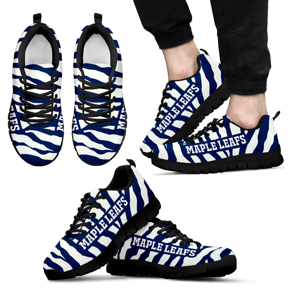 Tiger Skin Stripes Pattern Print Toronto Maple Leafs Sneakers