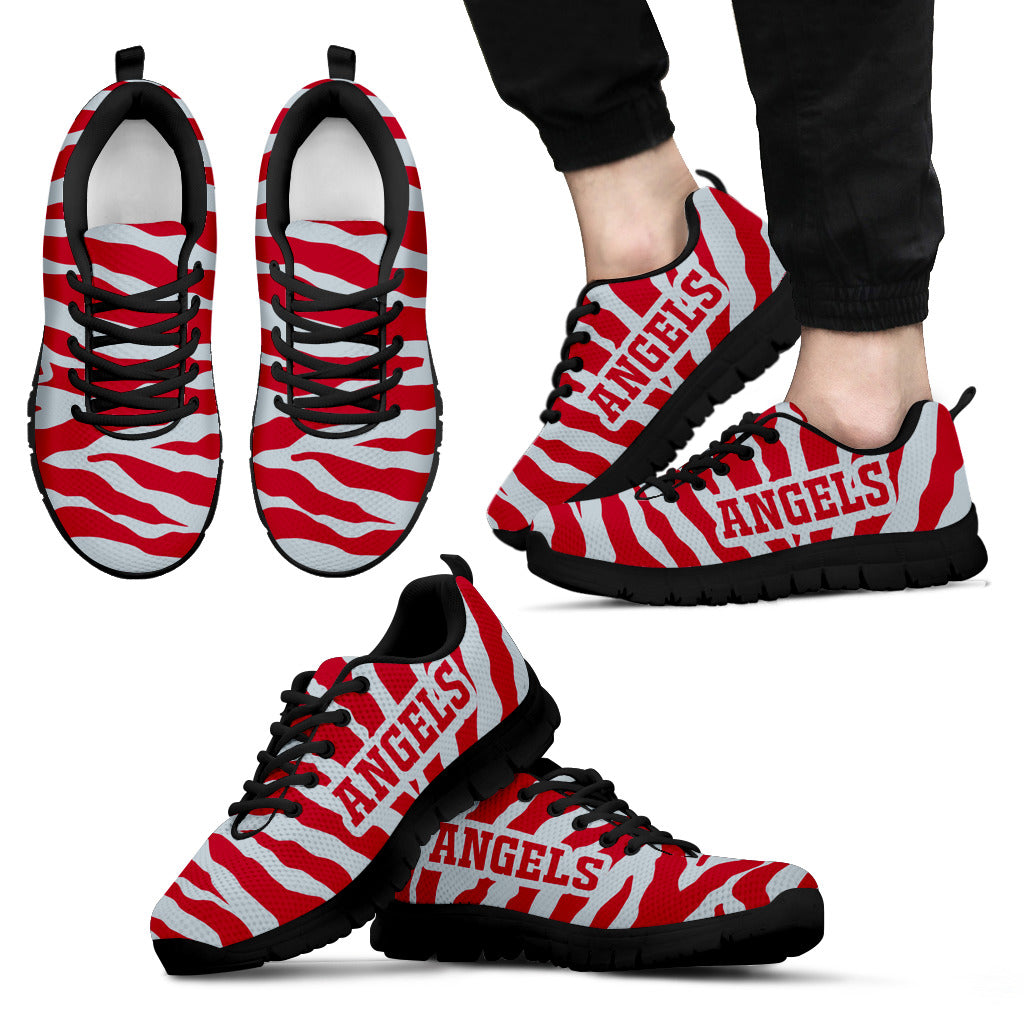 Tiger Skin Stripes Pattern Print Los Angeles Angels Sneakers