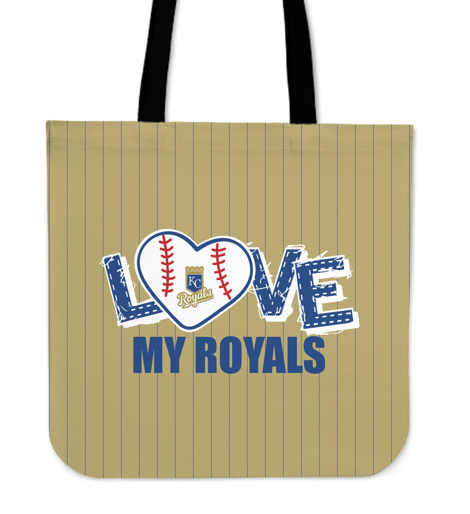 Love My Kansas City Royals Vertical Stripes Pattern Tote Bags