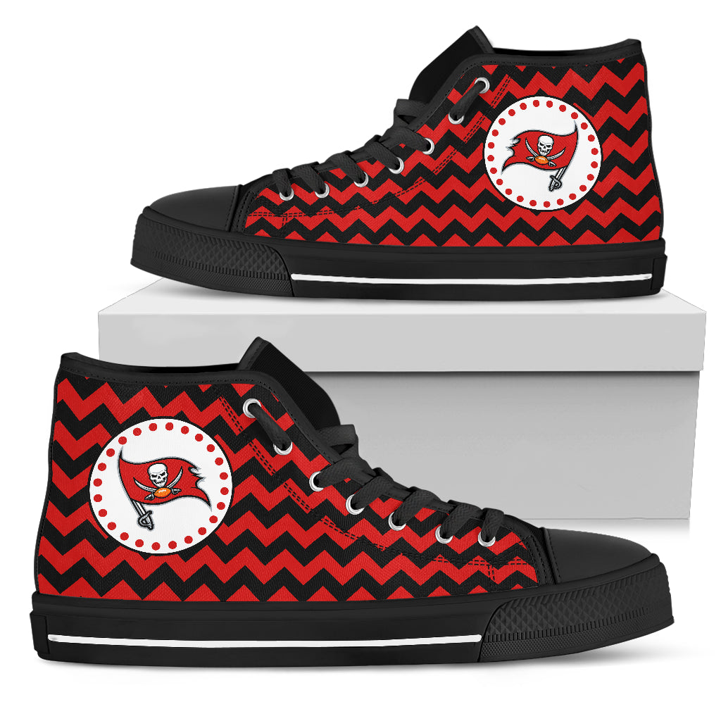 Chevron Broncos Tampa Bay Buccaneers High Top Shoes