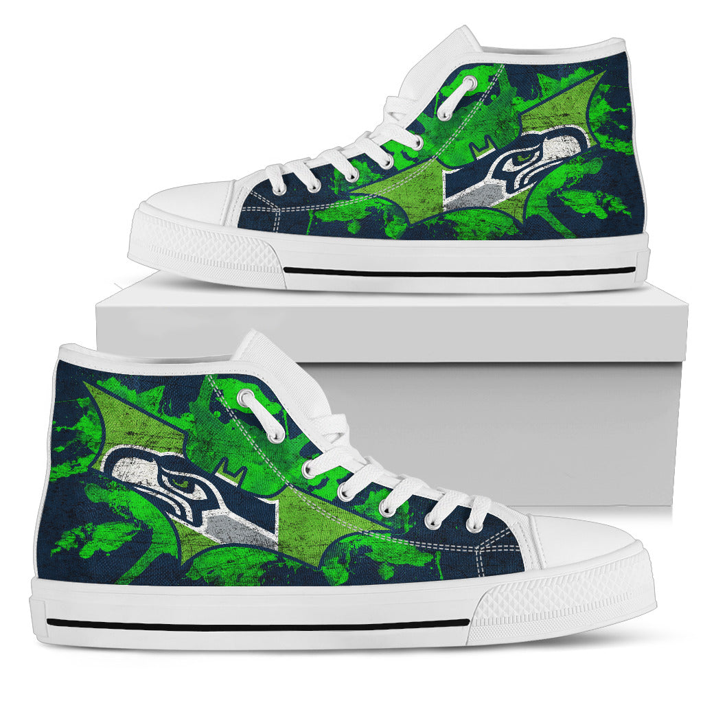 Batman Style Seattle Seahawks High Top Shoes