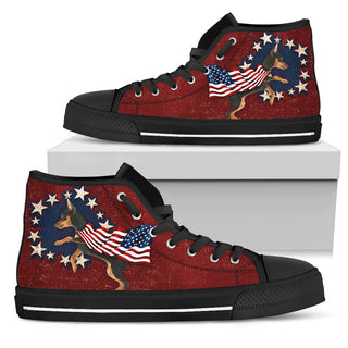 Doberman - Independence Day High Top Shoes