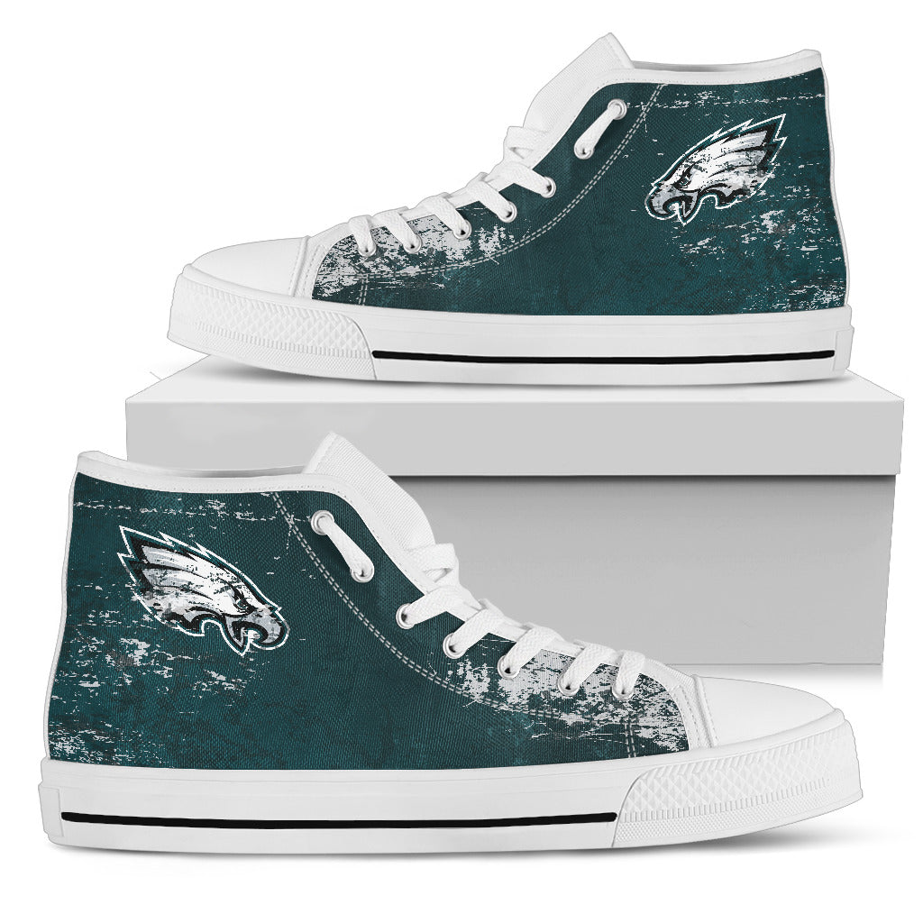Grunge Vintage Logo Philadelphia Eagles High Top Shoes